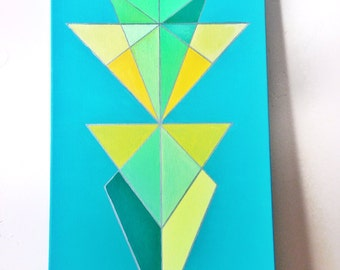 Colorful Greens Abstract Acrylic Painting, Free Shipping
