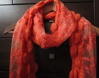 Embroidered Crochet Lace Scarf with flowers pattern Bright Orange Color