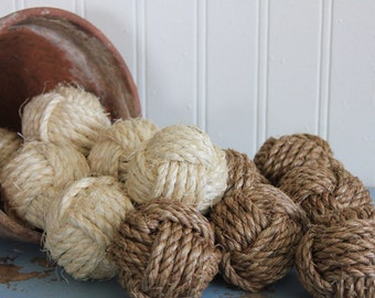 Nautical rustic rope balls - beach house decor - monkey fist knots - set of 10 small rope knots - rope vase fillers