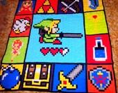 "Handcrafted Legends of Zelda Fabric Geekery Quilt  size 72""x 76"""