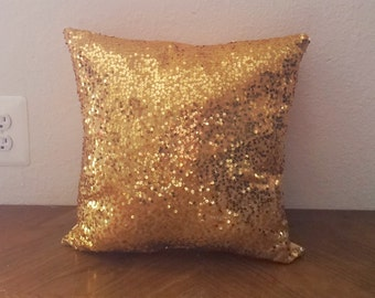 Sequin Pillow in Gold| Gold Pillow Square| Gold Home Decor
