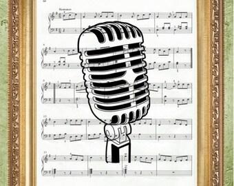 Microphone Sheet Music Art Print Wall Decor Sheet Music Art Print Sheet Music