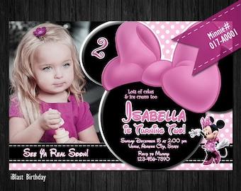 DIY Minnie Digital PHOTO Invitation for Minnie Mouse Birthday - polkadots