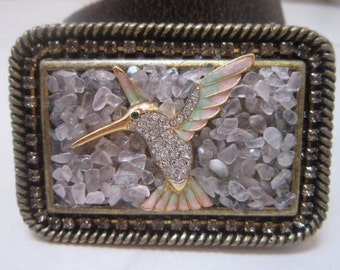 Designer Hummingbird Rose Quartz and Swarovski Crystal Belt Buckle