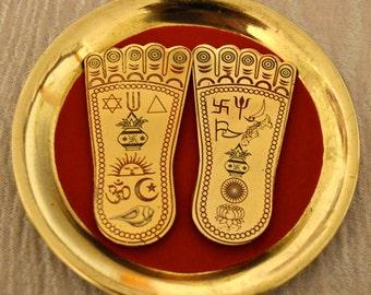 Sri Shri Lakshmi Laxmi Charan Paduka Lakshmi Lotus feets Lucky Charm Amulet in Brass- Beautifully Handcrafted Enameled Yantra 2 Sizes