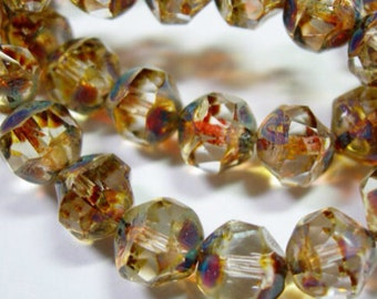 SALE 8mm - Clear Firepolished Picasso Finished Central Cuts Czech Glass Beads