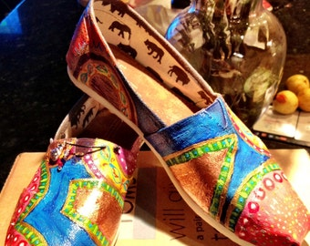 Spectacular one of a kind, hand-painted, custom made TOMS. Weddings, bridal, parties, casual, every day wear