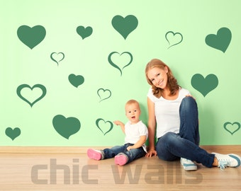 Set of 75 Hearts Removable Wall Art Decor Decal Vinyl Sticker Kids Room Decoration