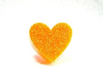 Glittery neon orange resin heart ring