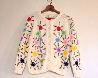 SALE | November Mayflower Sweater | Vintage 1960s Heavy-knit Embroidered Floral Cardigan
