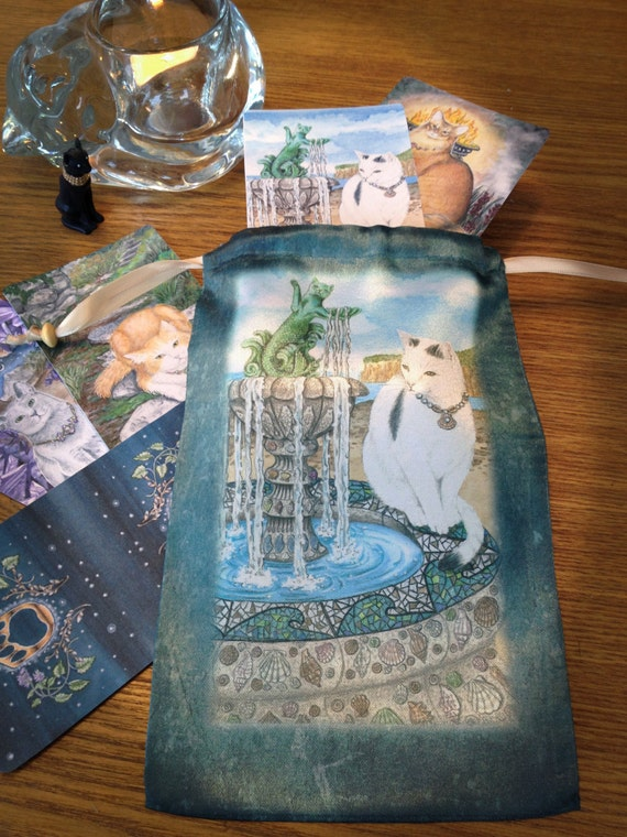Tarot Bags Tarot Cards Cloths More: Queen Of Sea Card Mystical Cats Tarot Bag