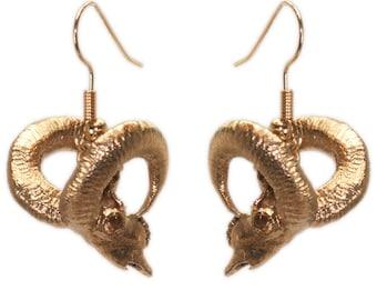 Ram Jewelry Ram Skull Earrings 3D Printed Animal Skull Jewelry in Bronze
