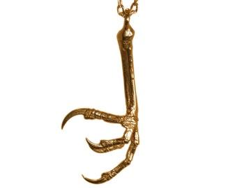 Bird Foot Necklace Bronze Talon Bird Claw Jewelry Animal Talon