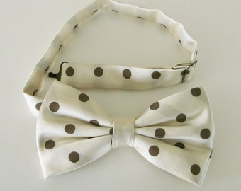 Mens Bow Tie Cream With Brown Polkadot Pre Tied Bow Tie