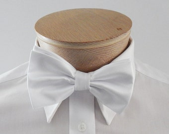 Mens Bow Tie Bright White Solid Banded Pre Tied Bow Tie