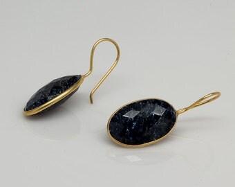 Blue Sapphire Bezel Earrings, September Birthstone Earrings, Gemstone Earrings, Bezel Drop Earrings, Oval Dangle Earrings, Mother's Day Gift