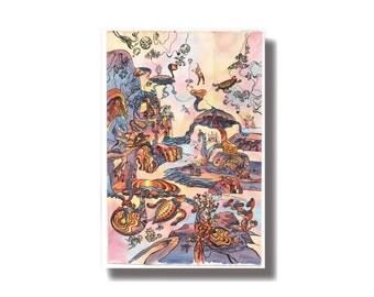 Fantastic world  print, underwater world,  print   turtles, art , home decor, watercolor, rainbow print, wall decor, living room decor