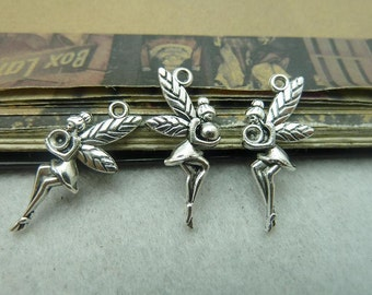 50pcs 12x25mm Pendant trays , antique silver angel charms Jewelry findings wholesale Bc6027 ,