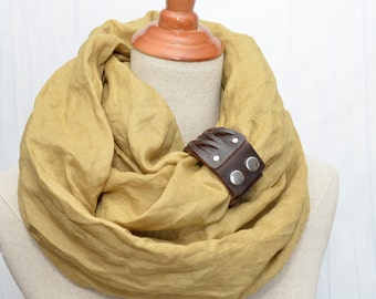 Linen Infinity Scarf. Chunky Scarf. Natural Linen. Mustard. Brown leather cuff.