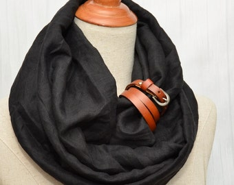Linen Infinity Scarf. Chunky Scarf. Natural Linen. Black. Tan leather cuff.