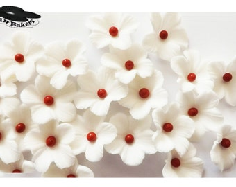 Asian Theme White Apple Blossoms Sugar Flowers Wedding Cake CupCake Toppers