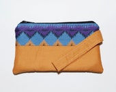 OOAK Bright Boho Chic Wristlet Purse, Tangerine Blue Purple Fabric, Eco-friendly Bohemian Purse, Southwestern Inspired Hippie Clutch Purse