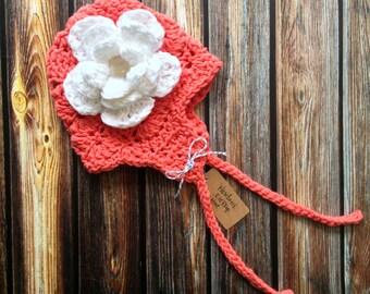 Crochet Newborn Girl Pink Earflap Hat with Flower & Button