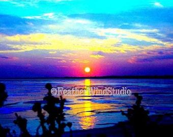 Sunset Photograph | Frozen Lake Ice | Lake St Clair | Magazine Cover Photo | Last Sunset of 1999 | New Years Eve | Winter Sunset | Art Print
