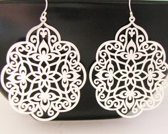Filigree Dangle Earrings Sterling Ear Wires Floral       Filigree Design Light and Airy