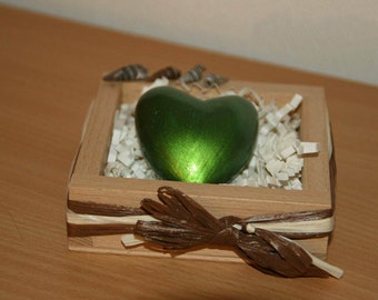 air-dry clay heart (acrylic paint) presented in wooden box