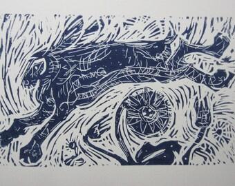 Running Free -  An Original Linocut Print