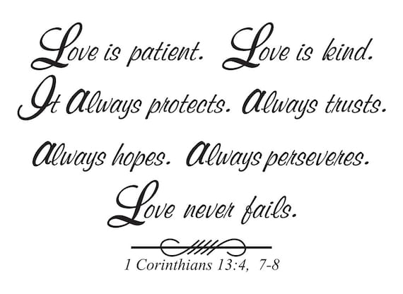 Love Is Patient Love Is Kind It Always Protects Always