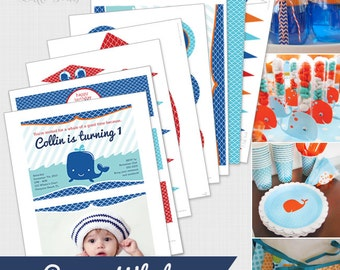 DIGITAL DOWNLOAD Preppy Whale Party Package