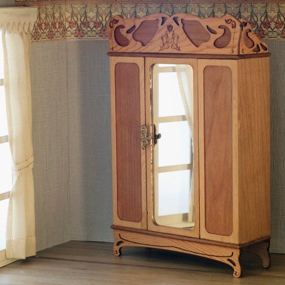 Art Nouveau Wardrobe For Bedroom Furniture Scale 1:12