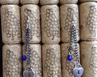 Heart Chain Earrings, Navy blue Swarovski, Lock earrings