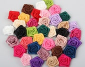 100pcs 40mm Handmade satin flowers,Small ribbon flower,  Rose flower, Headband flower,For  DIY decoration, Mixed 18 colors(AP146)