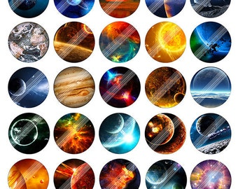 "Space""Big Bang"" Digital Collage Sheet,SBB,Galaxy Moon Earth Planet Printable Download,1.5 inch Circle Round Image,Cabochon,BottleCap,ClipArt"