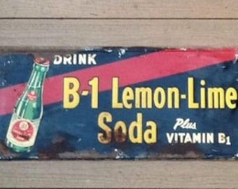 Old B 1 Lemon Lime Soda Pop Metal Sign