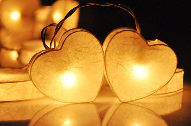 Led String Lights For Paper Lanterns : 35 LED White Heart valentine Paper Lantern String Lights for