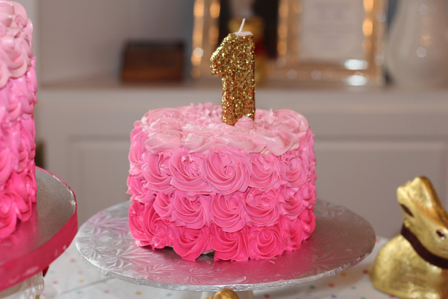 Gold Glitter Number One Candle First Birthday Glam And