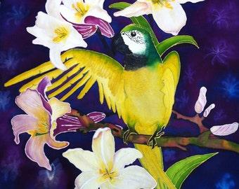 Tropical Parrot Silk handmade painting