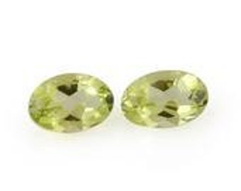 Hebei Peridot Loose Gemstones Set of 2 Oval Cut 1A Quality 6x4mm TGW 0.80 cts.
