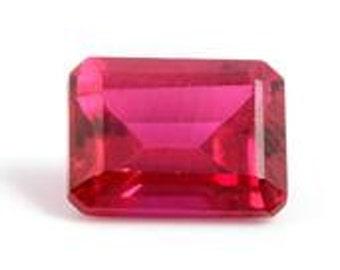 Ruby Synthetic Lab Created Octagon Cut Loose Gemstone 1A Quality 8x6mm TGW 1.70 cts.