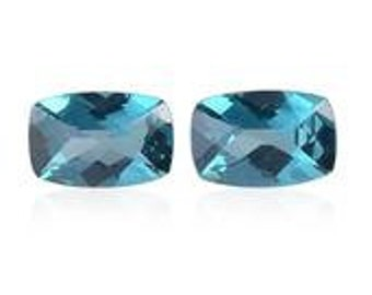Teal Blue Topaz Loose Gemstones Cushion Cut Set of 2 1A Quality 6x4mm TGW 1.00 cts.