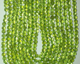 Peridot 5mm Round Beads Clear Transparent Natural Green Color