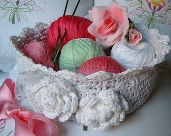 Crochet basket. Grey cotton basket. Decorative applied roses. Crochet basket romantic. Cotton box