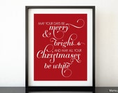 Christmas printable art: Merry and bright white Christmas - red christmas wall decor, quote print, flourish typography poster pdf -fp007