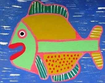 Happy Fish Two painting