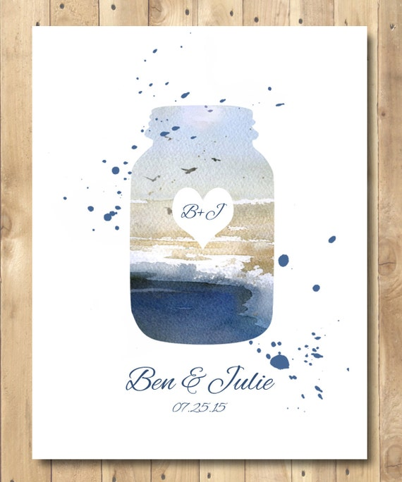 Sending Check Wedding Gift : Engagement gift, Mason Jar Poster Watercolor, Wedding Gift, Love Gift ...