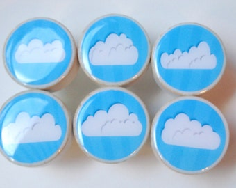 Set of 6 Cloud Knobs; White Fluffy Clouds Wooden Knobs, Wood Knobs - 1 1/4 Inches